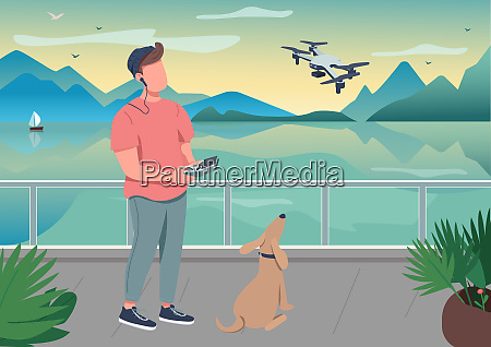 drone photography flat color vector illustration