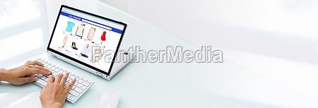 online shopping on tablet internet shop