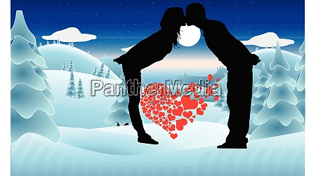 couple kissing in snow lovely hearts