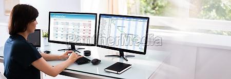 gantt chart planner on computer screen