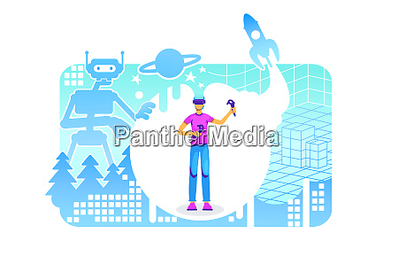 cyber space 2d vector web banner