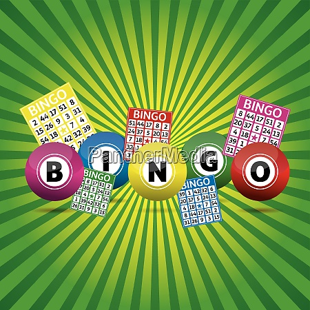 bingo lottery balls and bingo cards