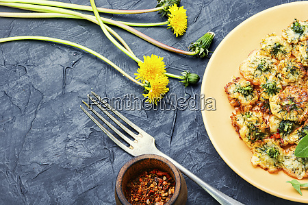 fried dandelion flowers