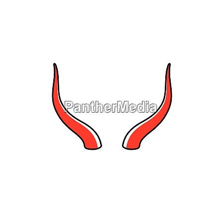 devil horn animal horn logo icon