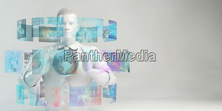 man using futuristic interface