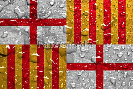 flag of barcelona with rain drops
