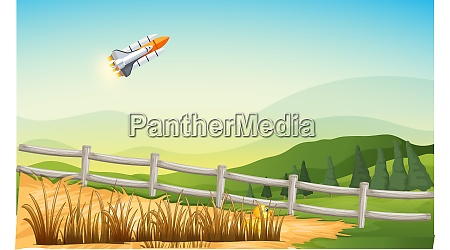 spacecraft travelling above the agriculture farm