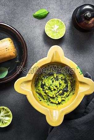 avocado dip with basil olive oil