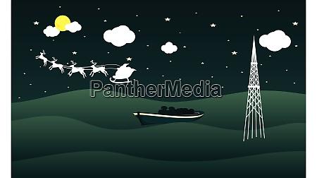 santa vehicle is crossing where boat
