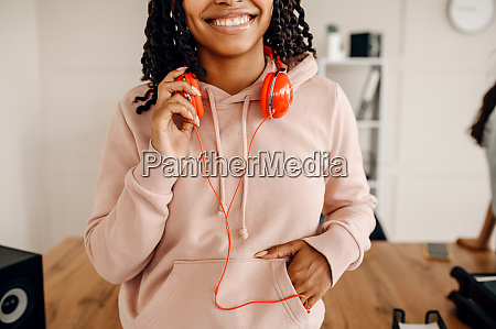female person with headphones music relaxation
