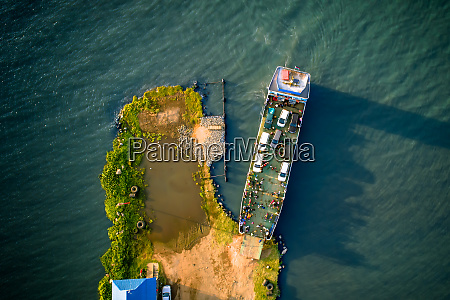 aerial view of a ferry docking