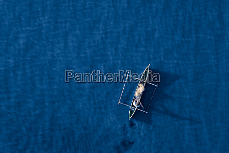 aerial view of a fishing pirogue