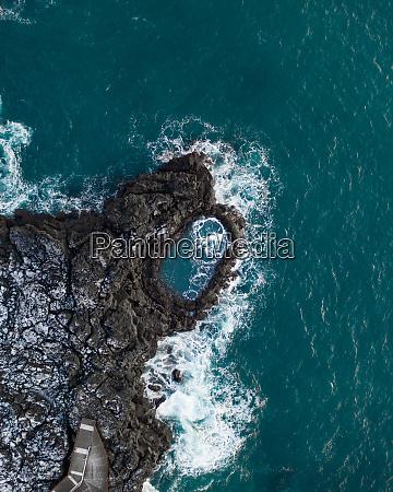 aerial view of brimketill lava rock