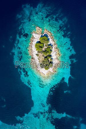 aerial view of otocic krbelica island