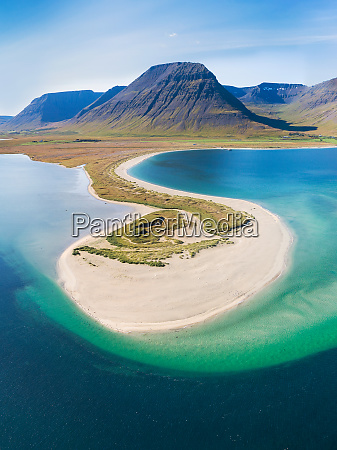aerial view of small peninsula in