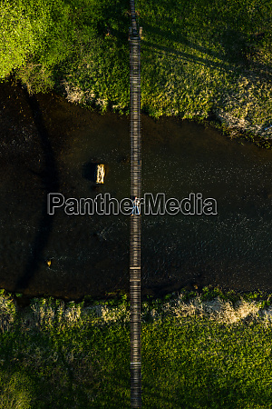 aerial view of person lying down