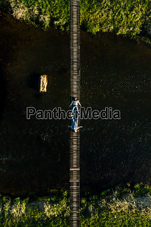 aerial view of couple lying down