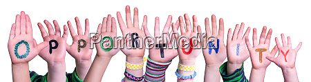 children hands building word opportunity isolated