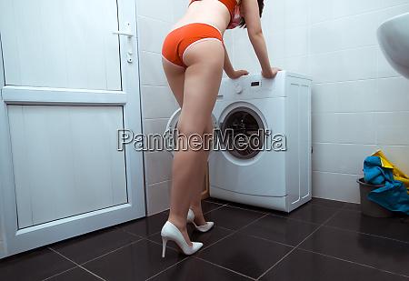 girl in underwear in bathroom