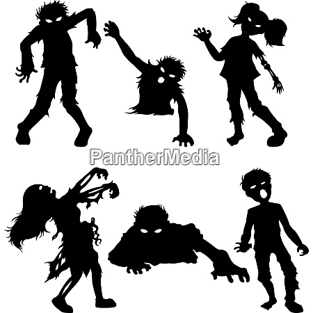 set of zombie male and female