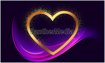 gold heart on abstract wave background