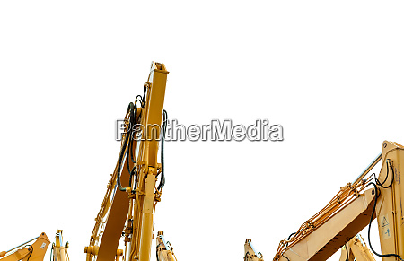 yellow backhoe with hydraulic piston arm