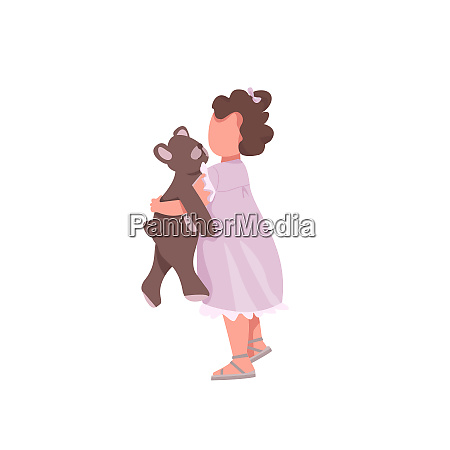 girl with toy flat color vector