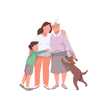 happy family flat color vector faceless