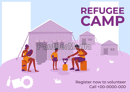 refugee camp poster flat vector template