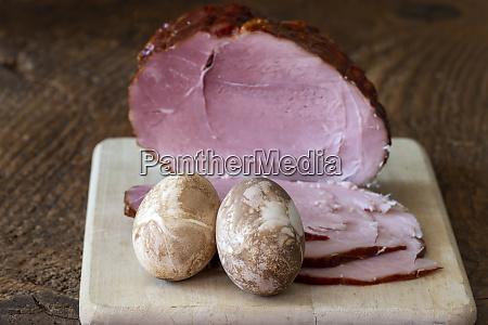 ham on a cutting board for
