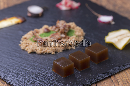 overview molecular gastronomy on black slate