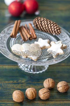 christmas, cookies, on, green, wood - 28607287