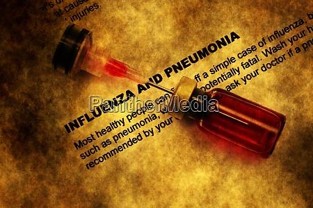influenza and pneumonia grunge concept