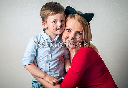 happy boy with mum having fun