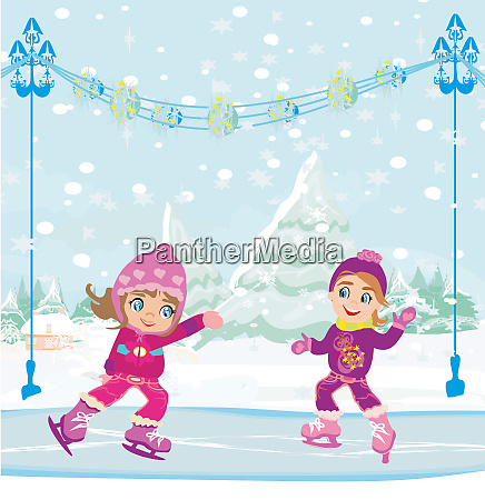 little girls skating on ice rink