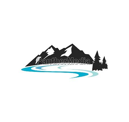 high mountain icon logo of adventure