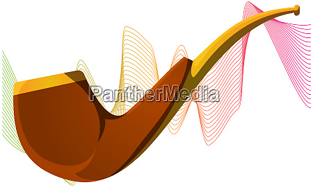 wooden tobacco pipe on abstract wave