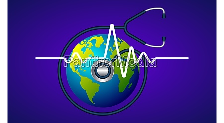 stethoscope checking heartbeat of earth on