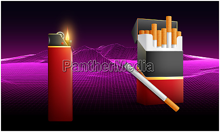 pack of cigarettes with light box