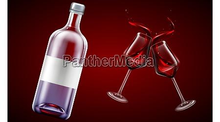 mock up illustration of wine bottle