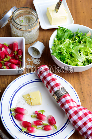 plate with radish and butter on