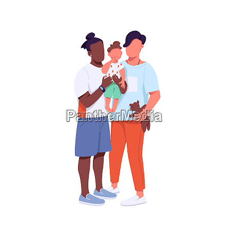 mixed race family flat color vector