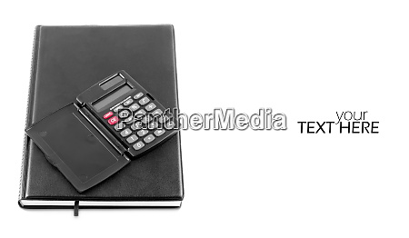 diary with calculator and copy space