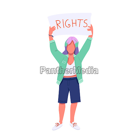 female protester with placard flat color