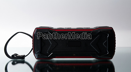portable audio speaker closeup shot