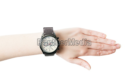female hand with the wrist watch