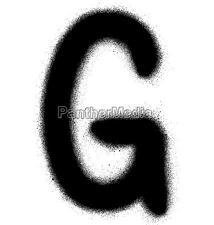 sprayed g font graffiti in black
