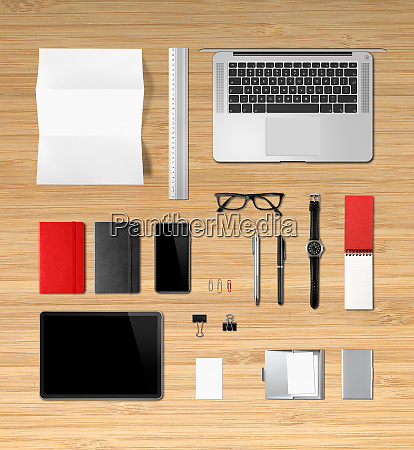 wooden office desk branding mockup top