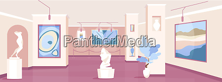 trendy art gallery flat color vector
