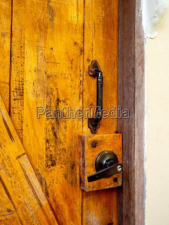 new brown wooden door in house